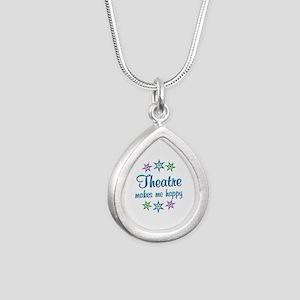 Theatre Happy Silver Teardrop Necklace