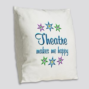 Theatre Happy Burlap Throw Pillow