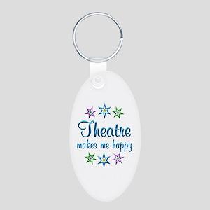 Theatre Happy Aluminum Oval Keychain