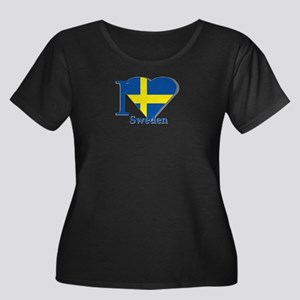 I love Sweden Women's Plus Size Scoop Neck Dark T-