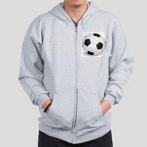 soccer ball large Zip Hoodie