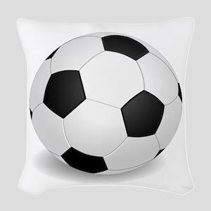 soccer ball large Woven Throw Pillow