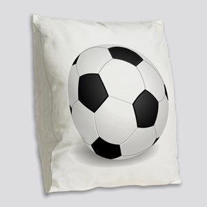 soccer ball large Burlap Throw Pillow