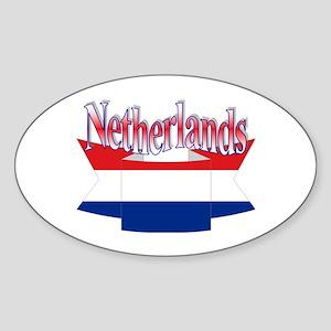 Netherlands flag ribbon Oval Sticker
