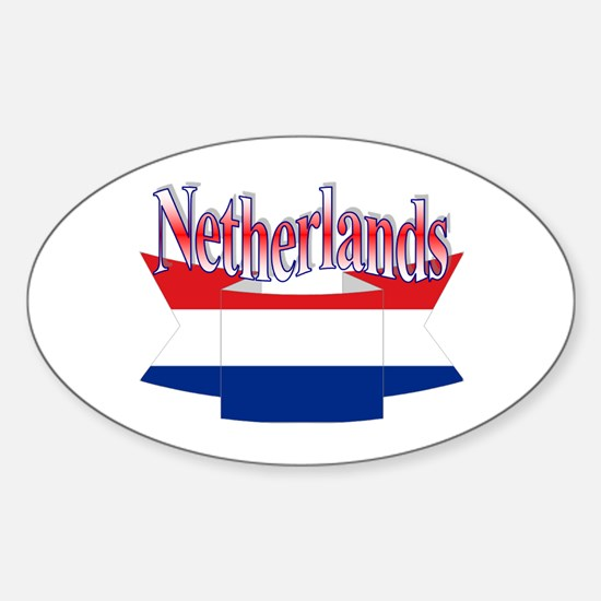 Netherlands flag ribbon Oval Decal