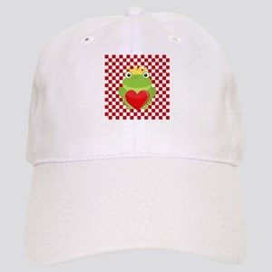 Frog Prince on Red and White Baseball Cap