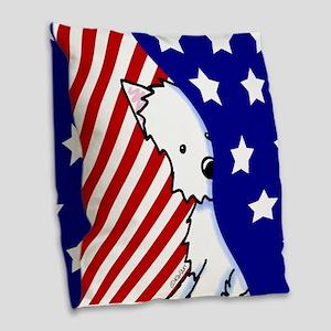 Peekaboo Patriotic Westie Burlap Throw Pillow