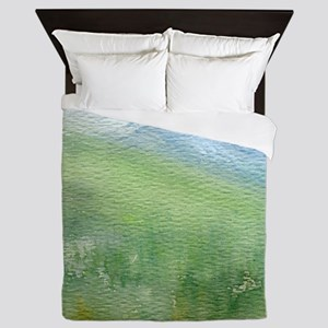 watercolor mountain landscape Queen Duvet