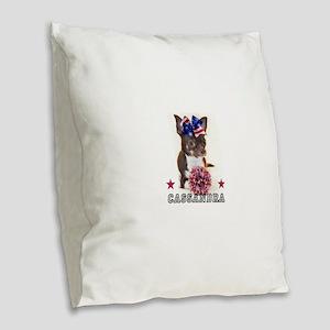 Cheer Chihuahua Dog Burlap Throw Pillow