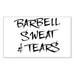 Barbell Sweat & Tears Rectangle Sticker