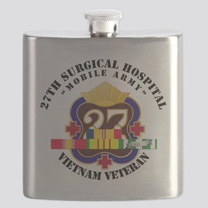 Army - 27th Surgical Hospital w SVC Ribbon - Flask