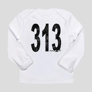 Distressed Detroit 313 Long Sleeve T-Shirt