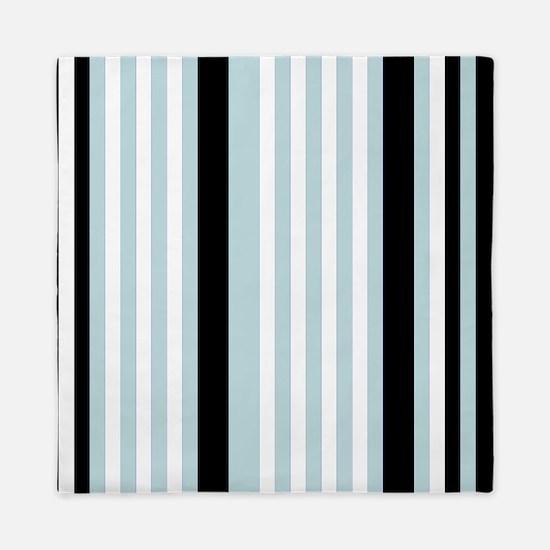 Light Blue Black White Stripes Queen Duvet