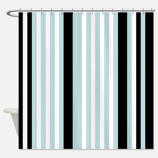 Light Blue Black White Stripes Shower Curtain