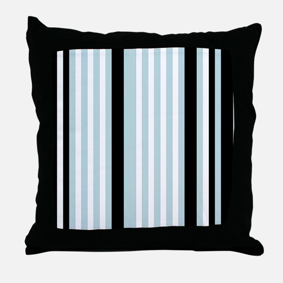 Light Blue Black White Stripes Throw Pillow