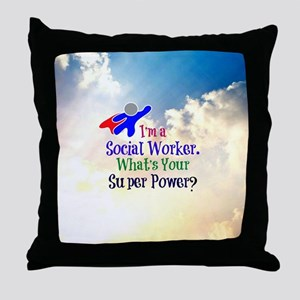 Social Worker Superhero Throw Pillow