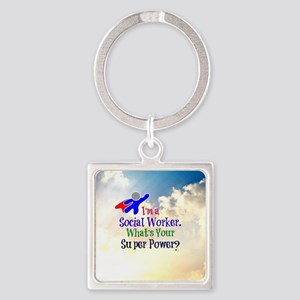 Social Worker Superhero Square Keychain