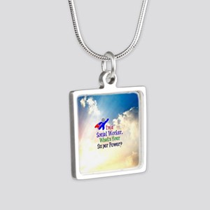 Social Worker Superhero Silver Square Necklace