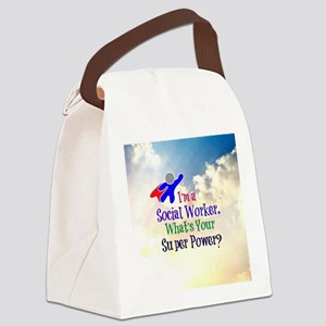Social Worker Superhero Canvas Lunch Bag