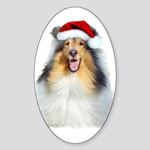 Santa Collie Oval Sticker