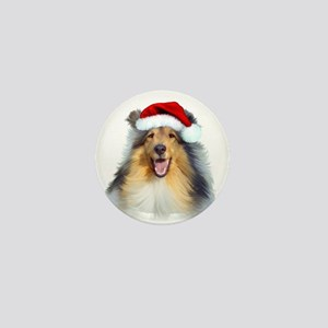 Santa Collie Mini Button