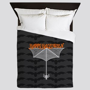 Happy Halloween Spiderweb black Queen Duvet