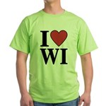 I Love Wisconsin Green T-Shirt