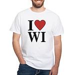 I Love Wisconsin White T-Shirt