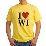 I Love Wisconsin Yellow T-Shirt