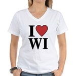 I Love Wisconsin Women's V-Neck T-Shirt