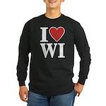 I Love Wisconsin Long Sleeve Dark T-Shirt