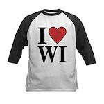 I Love Wisconsin Kids Baseball Jersey