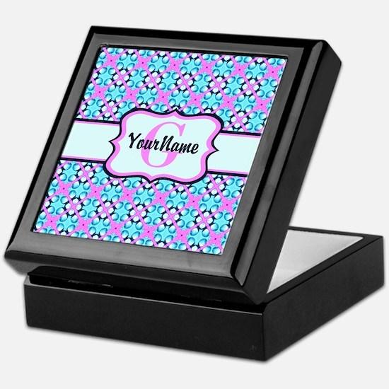 Teal & Pink Retro Floral Pattern Cust Keepsake Box
