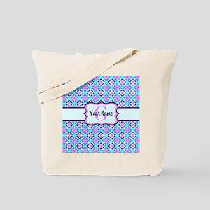 Teal & Pink Retro Floral Pattern Custom M Tote Bag