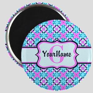 Teal & Pink Retro Floral Pattern Custom Mon Magnet