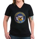 USS HENRY M. JACKSON Women's V-Neck Dark T-Shirt