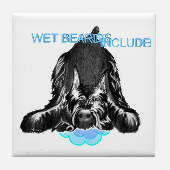 giant schnauzer wet beard included Tile Coaster