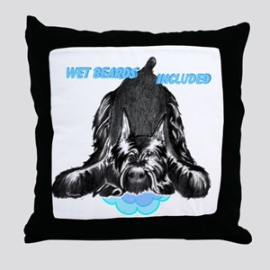 giant schnauzer wet beard included Throw Pillow