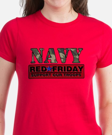 Red Friday Navy Logo Women's Dark T-Shirt