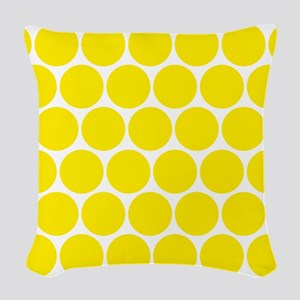Retro Yellow Polka Dots Woven Throw Pillow
