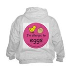 I'm allergic to eggs-pink Kids Hoodie-back design