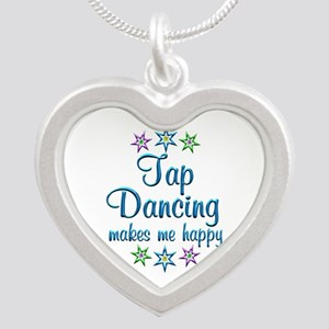Tap Dancing Happy Silver Heart Necklace