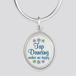 Tap Dancing Happy Silver Oval Necklace