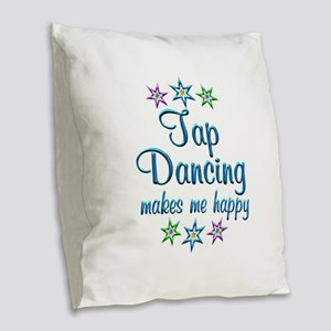 Tap Dancing Happy Burlap Throw Pillow