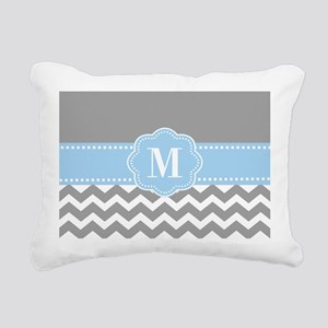 Gray Blue Chevron Monogram Rectangular Canvas Pill