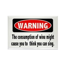Wine Warning Rectangle Magnet