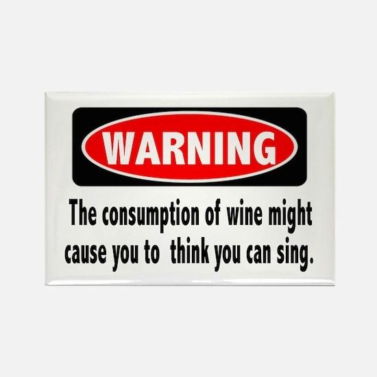 Wine Warning Rectangle Magnet