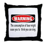 Beer Warning Throw Pillow