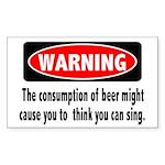 Beer Warning Rectangle Sticker