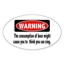 Beer Warning Oval Sticker